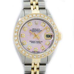 Rolex Ladies 2 Tone Yellow Gold Pink MOP Diamond Datejust Wristwatch