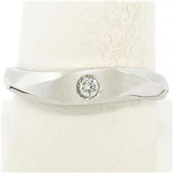 Men's Textured 14K White Gold Bead Set Round Diamond Solitaire Band Ring Sz 9.5
