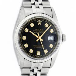 Rolex Mens Stainless Steel 36MM Black Diamond Datejust Wristwatch With Rolex Box