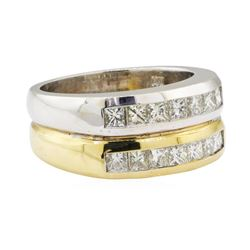 1.30 ctw Diamond Double Band - 14KT Yellow and White Gold