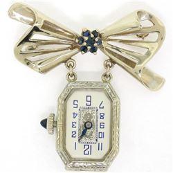 Vintage 18K Gold 12pt Sapphire 15 Jewels Untermeyer Robbins Watch Bow Pin Brooch