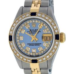Rolex Ladies 2 Tone Yellow Gold Blue Mother Of Pearl Diamond & Sapphire Datejust