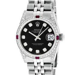 Rolex Womens Midsize 31mm Black Diamond Lugs & Ruby Datejust Wristwatch