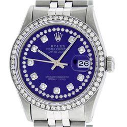 Rolex Mens Stainless Steel Puple String Diamond 36MM Datejust Wristwatch