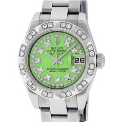 Rolex Ladies Stainless Steel Quickset Green String Diamond Datejust Wristwatch