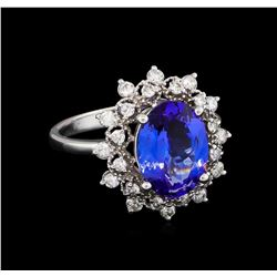 3.08 ctw Tanzanite and Diamond Ring - 14KT White Gold