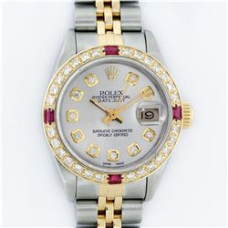 Rolex Ladies 2 Tone Yellow Gold Silver Diamond & Ruby Datejust Wristwatch