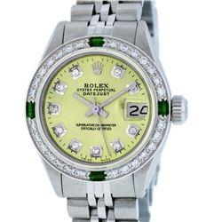Rolex Ladies Stainless Steel Yellow Diamond & Emerald Datejust Wristwatch