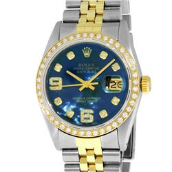 Rolex Mens 2 Tone 14K Blue MOP Diamond 36MM Datejust Wristwatch