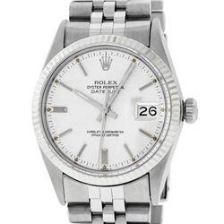 Rolex Mens Stainless Steel 36MM Silver Index 36MM Datejust Wristwatch