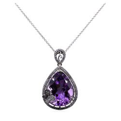 14.72 ctw Amethyst and Diamon Pendant With Chain - 14KT White Gold