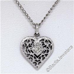 Vintage 14kt White Gold Open Filigree Solitaire Diamond Petite Heart Pendant Nec