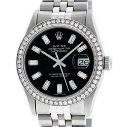 Rolex Mens Stainless Steel Black Baguette Diamond 36MM Datejust Wristwatch