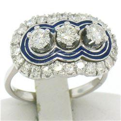 Vintage 18kt White Gold and Blue Enamel 1.15 ctw Diamond Ring