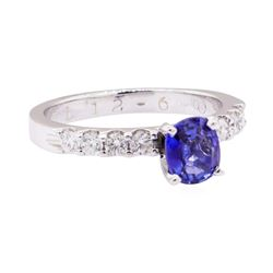 1.11 ctw Blue Sapphire and Diamond Ring - 14KT White Gold