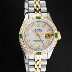 Rolex Ladies 2 Tone Yellow Gold MOP 18K Gold Diamond Bezel & Emerald Datejust Wr