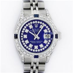 Rolex Ladies Stainless Steel Diamond Lugs Royal Blue String VVS Diamond Datejust