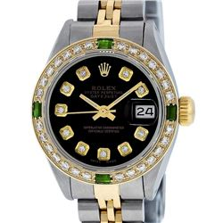 Rolex Ladies 2 Tone Yellow Gold Black Diamond & Emerald 26mm Datejust Wristwatch