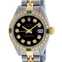 Rolex Ladies 2 Tone Yellow Gold Black Diamond & Emerald 26mm Datejust Wristwatch