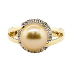 South Sea Pearl and Diamond Ring - 18KT Yellow Gold