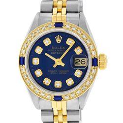 Rolex Ladies 2 Tone Yellow Gold Blue Diamond & Sapphire Datejust Wristwatch