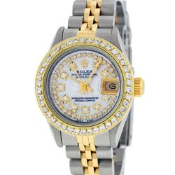 Rolex Ladies 2 Tone Yellow Gold Mother Of Pearl String Diamond Datejust Wristwat