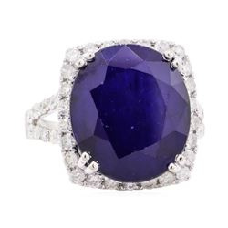 15.10 ctw Sapphire and Diamond Ring - 14KT White Gold