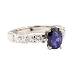 2.10 ctw Blue Sapphire And Diamond Ring - 14KT White Gold