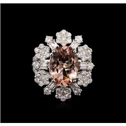5.15 ctw Morganite and Diamond Ring - 18KT White Gold
