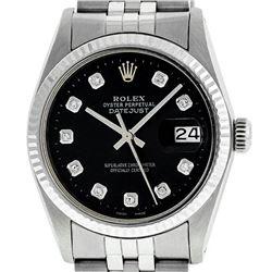 Rolex Mens Stainless Steel Black Diamond 36MM Datejust Wristwatch