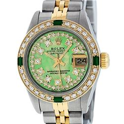 Rolex Ladies 2 Tone Yellow Gold Green MOP Diamond & Emerald Datejust Wristwatch