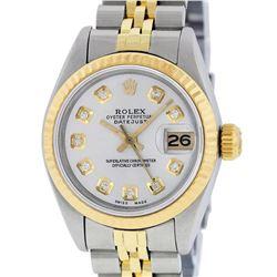 Rolex Ladies 2 Tone Yellow Gold Silver Diamond 26MM Datejust Wristwatch