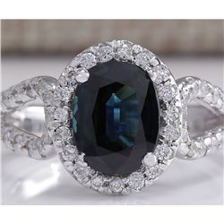 2.91 CTW Natural Blue Sapphire And Diamond Ring 18K Solid White Gold