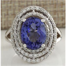 5.89 CTW Natural Blue Tanzanite And Diamond Ring In 18K White Gold