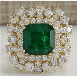7.02 CTW Natural Emerald And Diamond Ring 18K Solid Yellow Gold