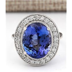 10.11 CTW Natural Blue Tanzanite And Diamond Ring In 18K White Gold