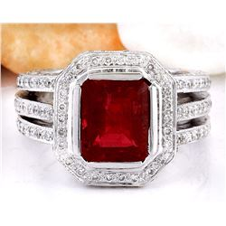 5.50 CTW Natural Rubelite 18K Solid White Gold Diamond Ring