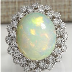 11.98 CTW Natural Opal And Diamond Ring In 18K Solid White Gold