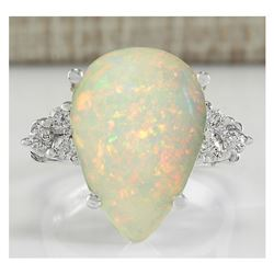 4.61 CTW Natural Opal And Diamond Ring In 18K White Gold