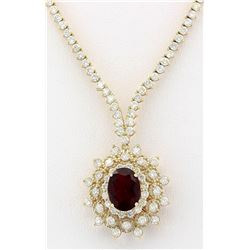 12.97 CTW Natural Tourmaline And Diamond Necklace In 18K Yellow Gold