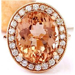10.90 CTW Natural Morganite 18K Solid Rose Gold Diamond Ring