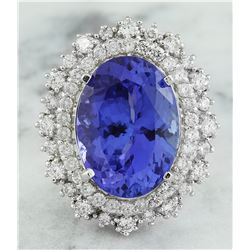 13.75 CTW Tanzanite 18K White Gold Diamond Ring