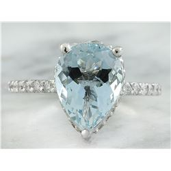 4.30 CTW Aquamarine 18K White Gold Diamond Ring
