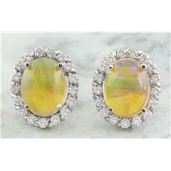 3.70 CTW Opal 18K White Gold Diamond Earrings