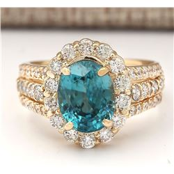 5.89 CTW Natural Blue Zircon And Diamond Ring 18K Solid Yellow Gold