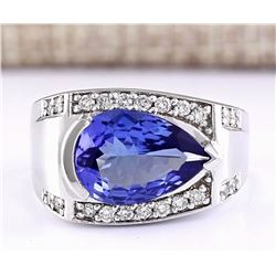 3.32 CTW Natural Blue Tanzanite And Diamond Ring 14k Solid White Gold