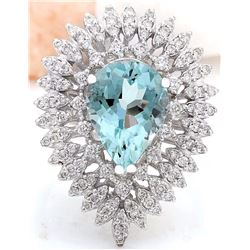 4.11 CTW Natural Aquamarine 18K Solid White Gold Diamond Ring