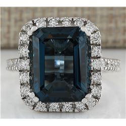 10.91CTW Natural London Blue Topaz And Diamond Ring In18K Solid White Gold