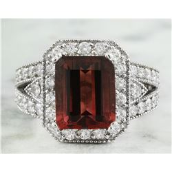 5.80 CTW Tourmaline 18K White Gold Diamond Ring