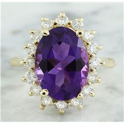 7.26 CTW Amethyst 18K Yellow Gold Diamond Ring